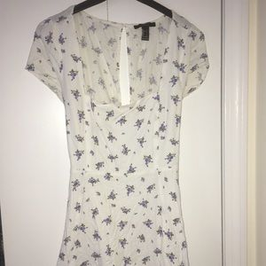 White and Blue Floral Linen Sundress - Size L